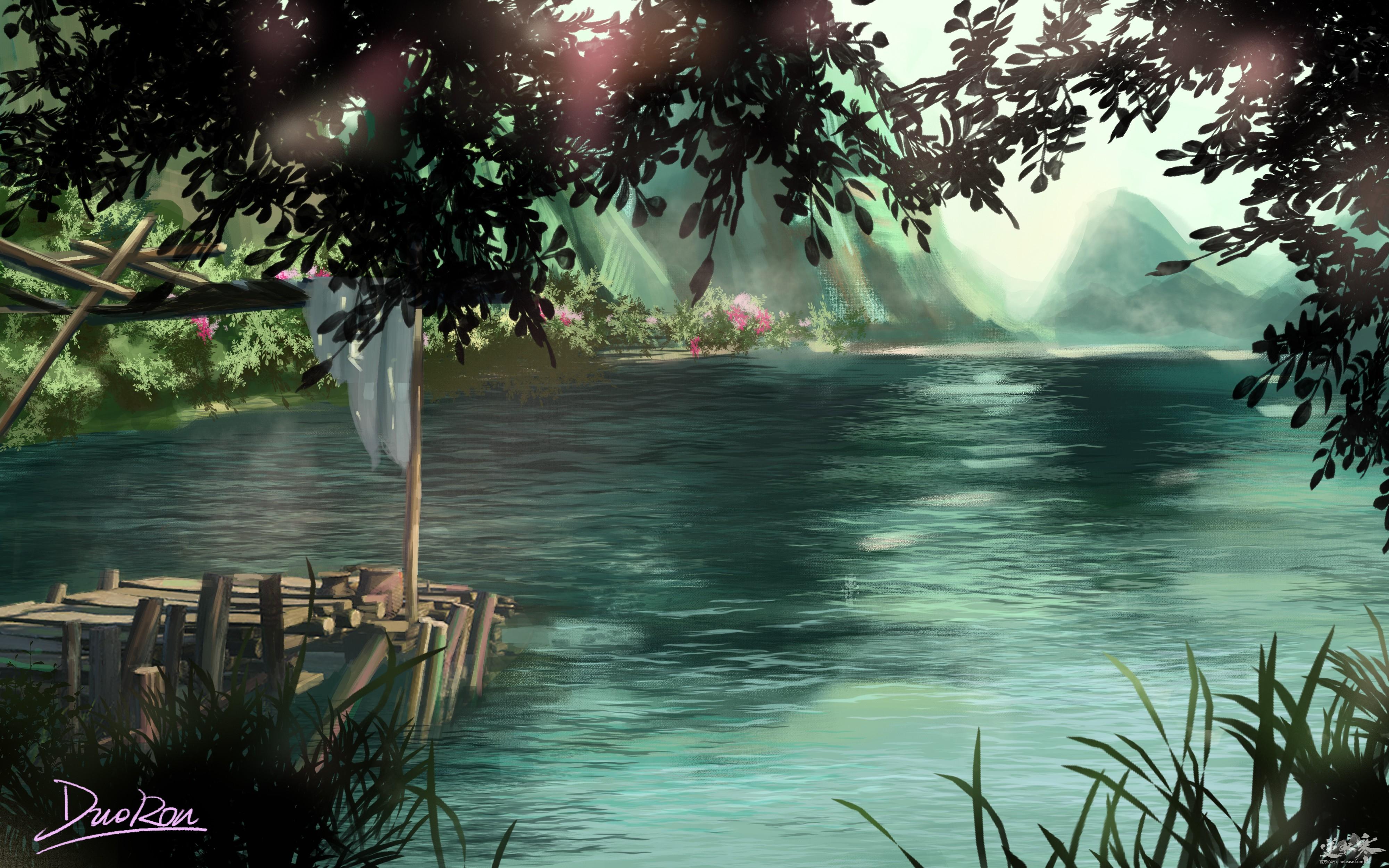 【自在门】【手绘】湖边木桥