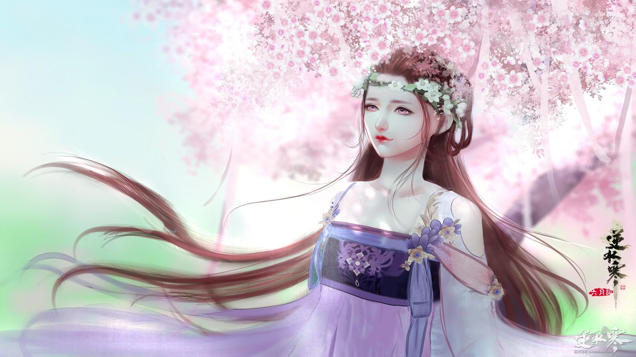 【自在门】【逆水寒欢迎你】樱花下的小姐姐 素问壁纸